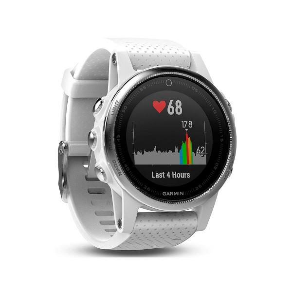 Garmin fenix 5s plata correa blanca 42mm reloj multideporte gps glonass bluetooth monitor de frecuencia cardíaca y actividad resistente al agua 10 atm
