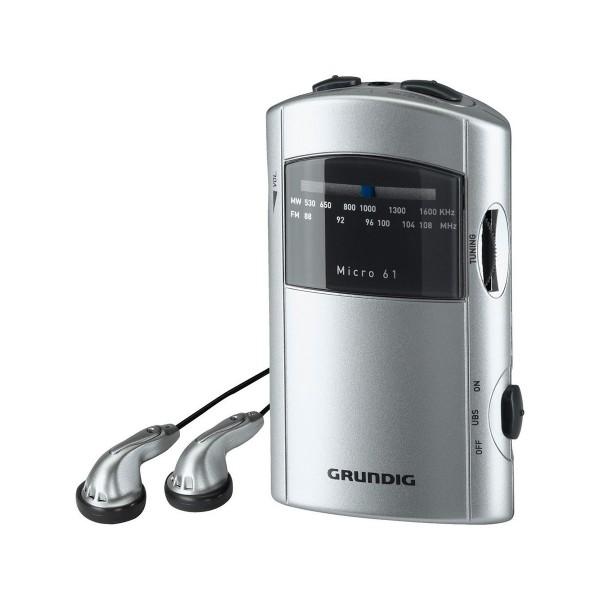 Grundig micro 61 radio am/fm portátil con auriculares