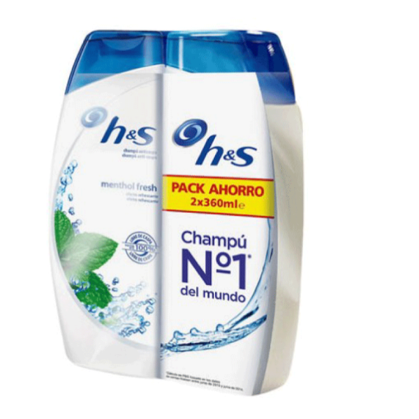 H&S Champú Menthol Fresh Pack Ahorro 360 ml + 360 ml