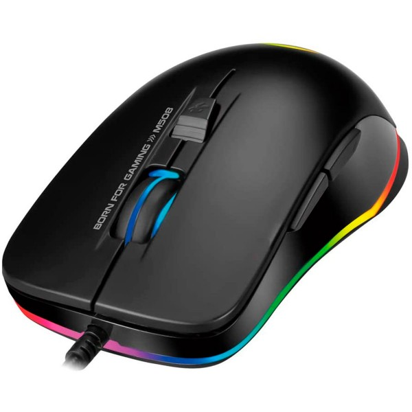Scorpion m508 negro ratón gaming led arcoiris usb 6 botones 3200 dpi
