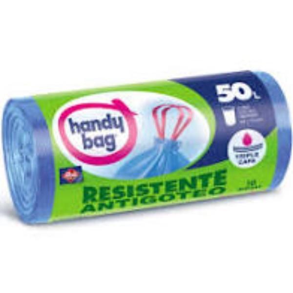 Handy bag bolsas basura Antigoteo rollo 50l . 10 bolsas